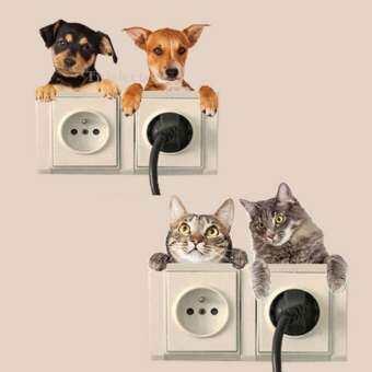 TJR สติ๊กเกอร์ ติด สวิตส์ ปลั๊ก ลายน้องแมวหมา 4 รูป น่ารัก สติกเกอร์ ติดผนัง แบบลอกออกได้ สำหรับ ตกแต่งบ้าน ตกแต่งห้องนอน ห้องนั่งเล่น ห้องรับแขก ห้องทำงาน-