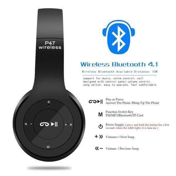 ข้อดีข้อเสีย G U N หูฟังบลูทูธ หูฟังBluetooth หูฟังไร้สายHeadphone Stereo รุ่น P47 ของแท้