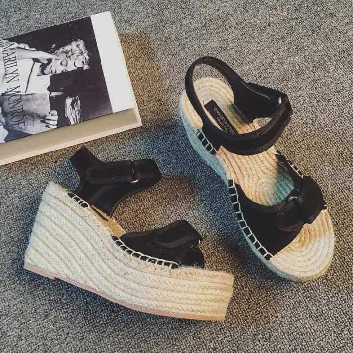 Man's/Woman's Summer of female female female of sandals 2018 new style of the thick bottom baba is high to weave peep-toe and waterproof set magic to stick ascent and Han Ban's women's shoes with grass - intl   Attractive fashion 030736