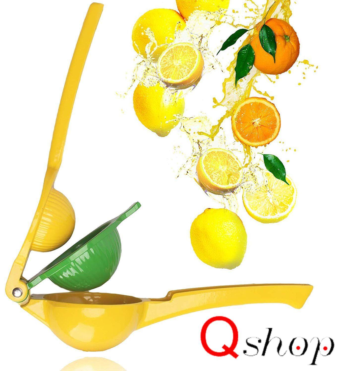 ??2 in 1?Q-shop Juicers Fruit Extractors Hand Made Lemon Squeezer,New Premium Quality Metal Lime Squeezer Manual Citrus Press Juicer with Long Handle Spoon