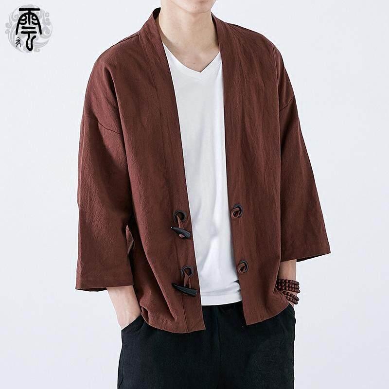 45c4faa7d Gaya Tiongkok Trendi Tanduk Gesper Jubah diperbarui kimono kardigan pria longgar  ukuran besar Jaket etnik trendi