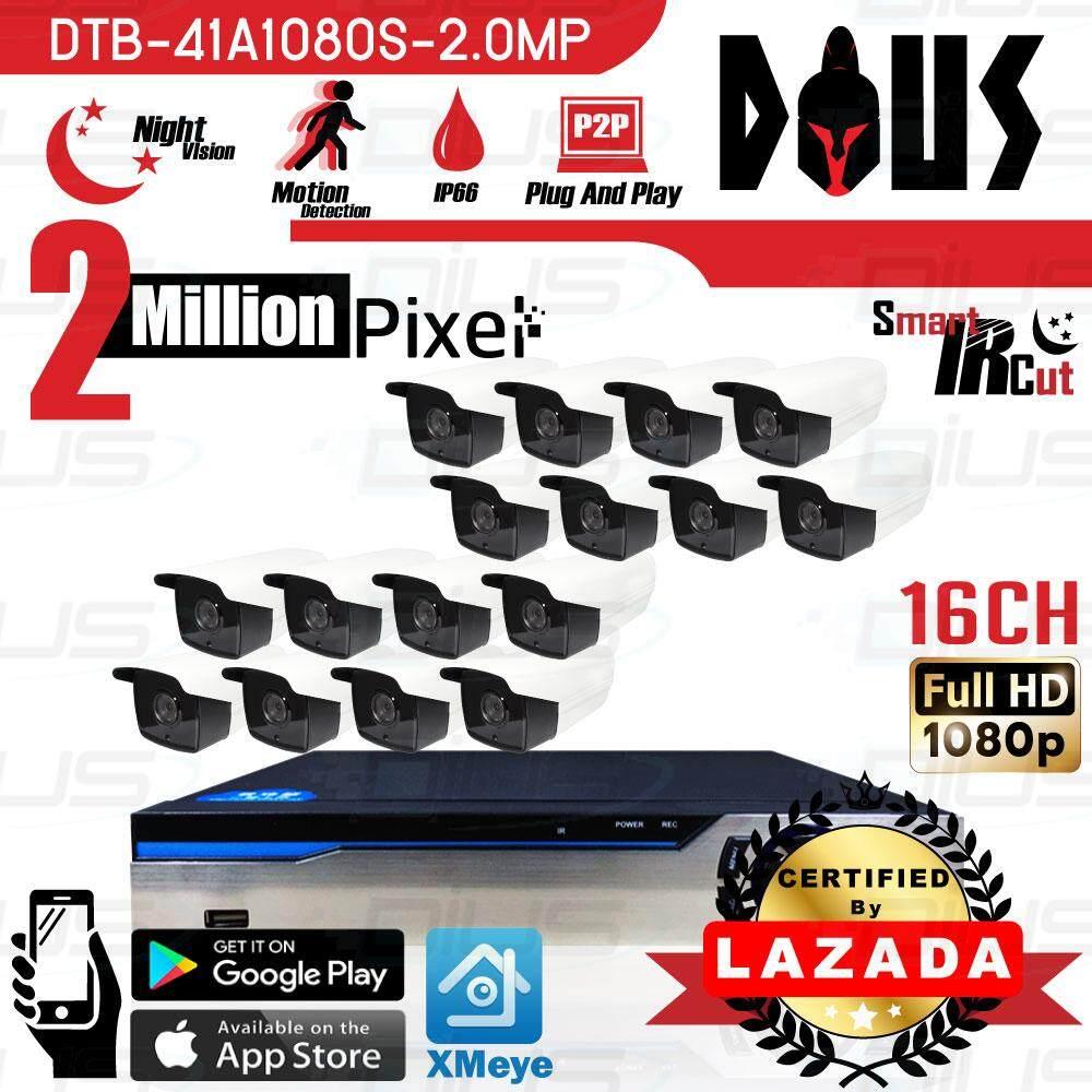 คูปอง Dius ชุดกล้องวงจรปิด OEM 16CH CCTV 2.0MP Full HD 1080p ทรงกระบอก กล้อง 16ตัว เลนส์ 3.6mm / IR-Cut / Night Vision / Day&Night / Water Proof พร้อมเครื่องบันทึก 16ช่อง 1080N DVR, NVR, AHD, TVI, CVI, Analog ต้องแนะนำ