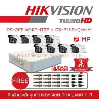 HIKVISION ชุดกล้องวงจรปิด 2 MP DS-7108HQHI-K1 + DS-2CE16D0T-IT3F*8 (3.6 mm) 'FREE' BNC + DC