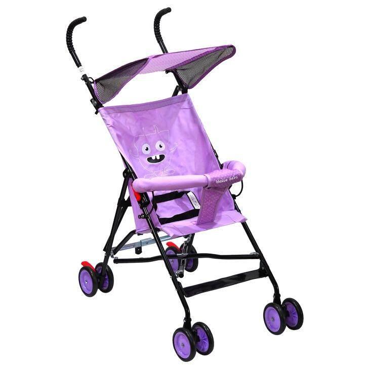 สั่งซื้อ  Hello Baby รถเข็นเด็กเล็ก รถเข็นเด็ก รถเข็นบาง รถเข็นเด็กพับได้ รถเข็นเด็กมีหลังคา กันแดด รุ่น HP-300 [สีม่วง] ซื้อเว็บไหนไม่โกง