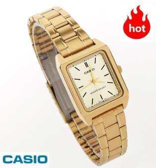 NC Time Shop (ขายดี) CASIO รุ่น LTP-V007G-9E  นาฬิกาผู้หญิง สายสแตนเลสสีทอง หน้าปัดสี่เหลี่ยม - มั่นใจ ของแท้ 100% รับประกันสินค้า 1 ปีเต็ม