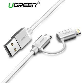 UGREEN 1m Apple MFi Certified 2 in 1 Dual Connector Lightning to Micro USB Sync and Charge Cable (Si-