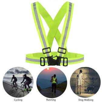 เสื้อ สะท้อน แสง เสื้อ วิ่ง  สะท้อน แสง เสื้อ จักรยาน  สะท้อน แสง เสื้อไตร กีฬา ชุด ออก กํา ลังกา ย  สะท้อน แสง (สีเขียวสะท้อน) Reflective Vest for Running Cycling Night Outdoor Activities (Green)