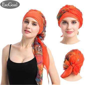 ผู้หญิง EsoGoal มุสลิมหมวกยืด Turban หัวผมยาวผ้าพันคอผ้าพันคอ Hijab Headwraps คีโมที่
