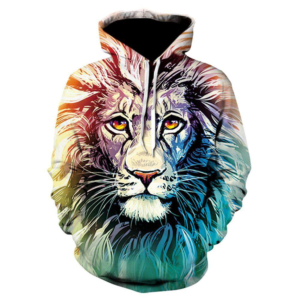 Halloween Christmas Men/Women 3D Print Lion Hoodie Cool Fashionable Hooded Pullover Sweatshirts Tops