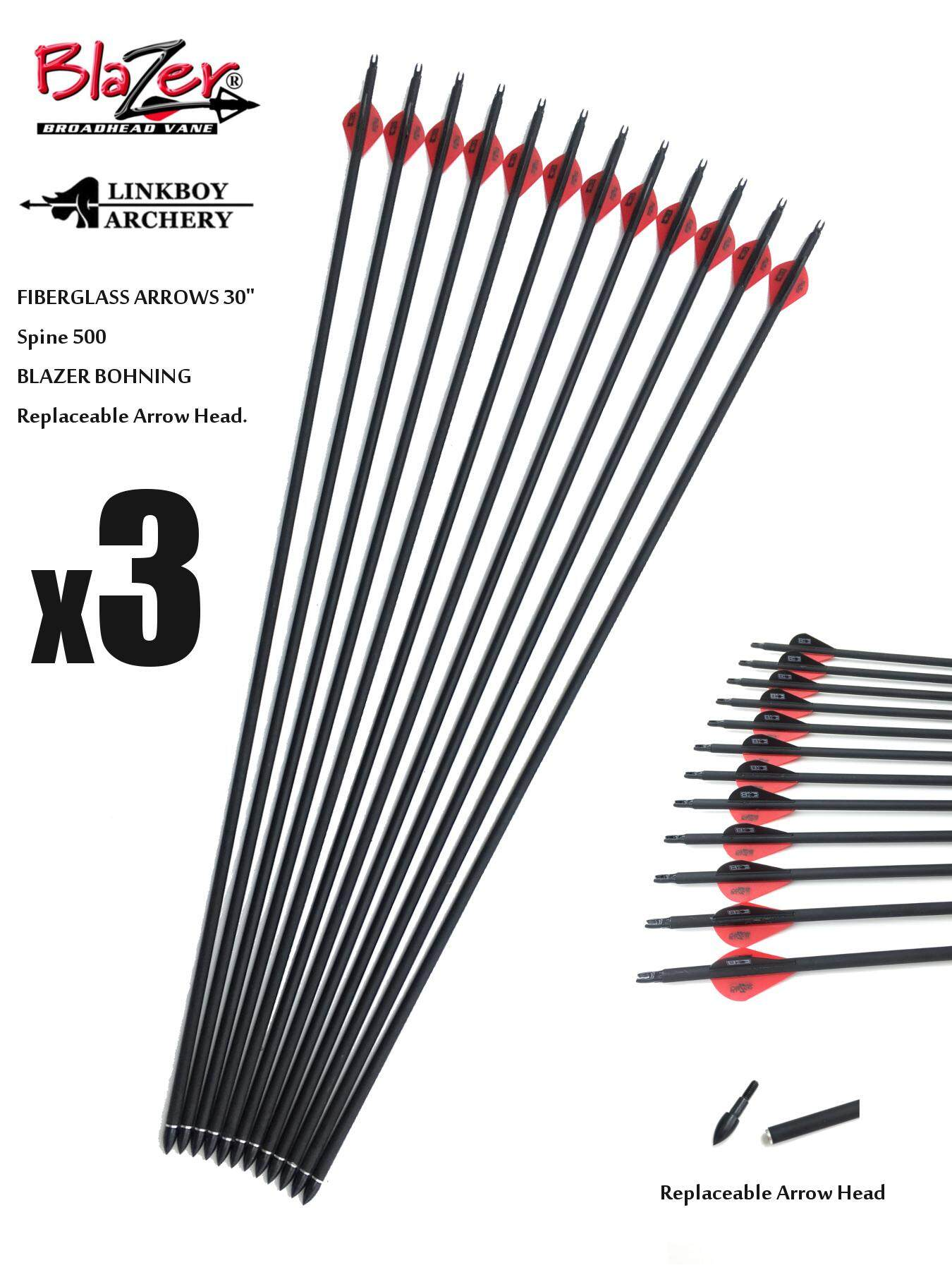 "x3 LINKBOY 30"" Spine500 Mixed Carbon (Lower) BLAZER Arrows Archery ลูกธนู With Replaceable Head [LB-FBARRW-30-500-3PCS]"