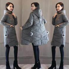 2018 Sản Phẩm Mới Quần Áo Mùa Đông Kiểu Hàn Quốc Ống Đứng Dày Liền Mũ Lông Vũ Quần Áo Cotton Nữ Dài Mốt Thời Thượng Mẹ Áo Bông Áo Khoác