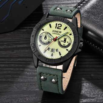 แฟชั่นของผู้ชายหนังสแตนเลสกีฬา Analog ควอตซ์นาฬิกาข้อมือกันน้ำ - INTL-