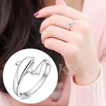 Kaari แหวนผู้หญิง แหวน ทรงปลาโลมาพันรอบนิ้ว สัญลักษณ์โชคดีของความรัก แหวนแฟชั่น รุ่น R0018 (สีเงิน)-