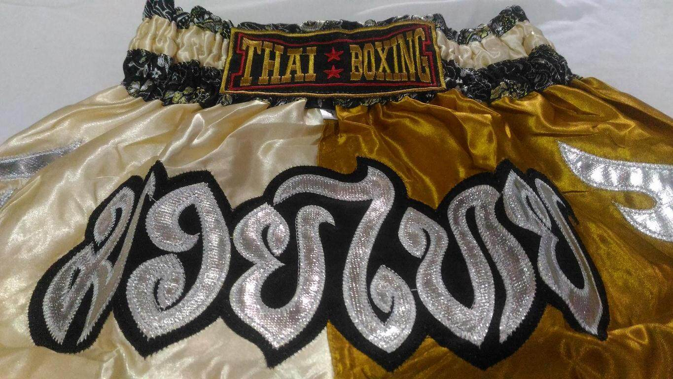 กางเกงมวยไทย - เด็ก - S -Kombat Gear Muay Thai Boxing shorts Gold Two Tones Pattern