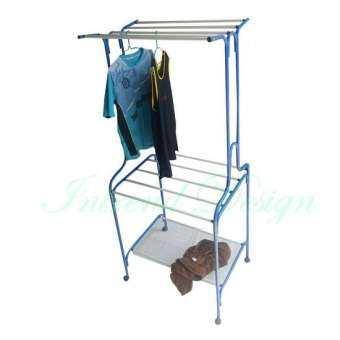 Inter Steel ราวแขวนผ้า ราวเหล็กสำหรับแขวนเสื้อผ้า ราวตากผ้า2ชั้น  รุ่น clothes 10line A9-