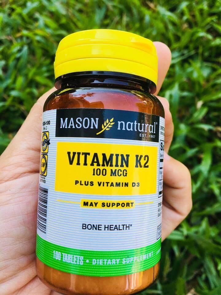 Vitamin K2 วิตามินเคสอง (MK-4 Menaquinone) Plus D3 /1000 IU - 100 Tablets (Mason Natural®)