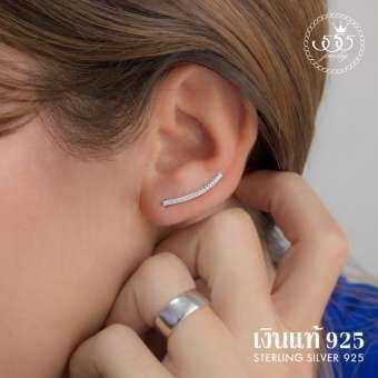 555jewelry ต่างหูเงินแท้ ดีไซน์ต่างหูเพชรสวิส เครื่องประดับ ต่างหูแฟชั่น Sterling Silver 925 Fashion Jewelry Women Earrings ต่างหูแป้นดีไซน์เก๋แบบเรียบๆ ต่างหูแบบสวยฝังเพชรสวิส CZ เรียงแถวเป็นประกาย รุ่น MD-SLER063