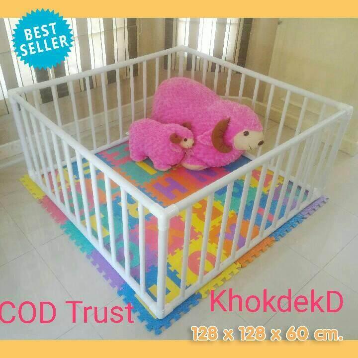 ราคา KhokdekD คอกกั้นเด็กดี ขนาดพอดี 1.28x1.28ม.สูง 60 cm. มุมสามทางฉากอย่างหนาสีขาว พร้อมส่งทั่่วไทยเก็บเงินปลายทาง