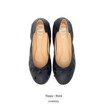 POPPY BLACK (ดำ) รองเท้าคัทชู รองเท้าคัชชู รองเท้าไซด์ใหญ่ รองเท้าแฟชั่น Zaab รองเท้า ผู้หญิง ส้นเตี้ย ส้นแบน  รองเท้าหน้ากว้าง เท้าใหญ่ นิ่ม หัวมน ทำงาน ไซด์ 34-44 สำหรับคน หน้าเท้ากว้าง พื้นยาง ไม่ลื่น ไม่กัด ทนทาน สินค้าพร้อมส่ง-