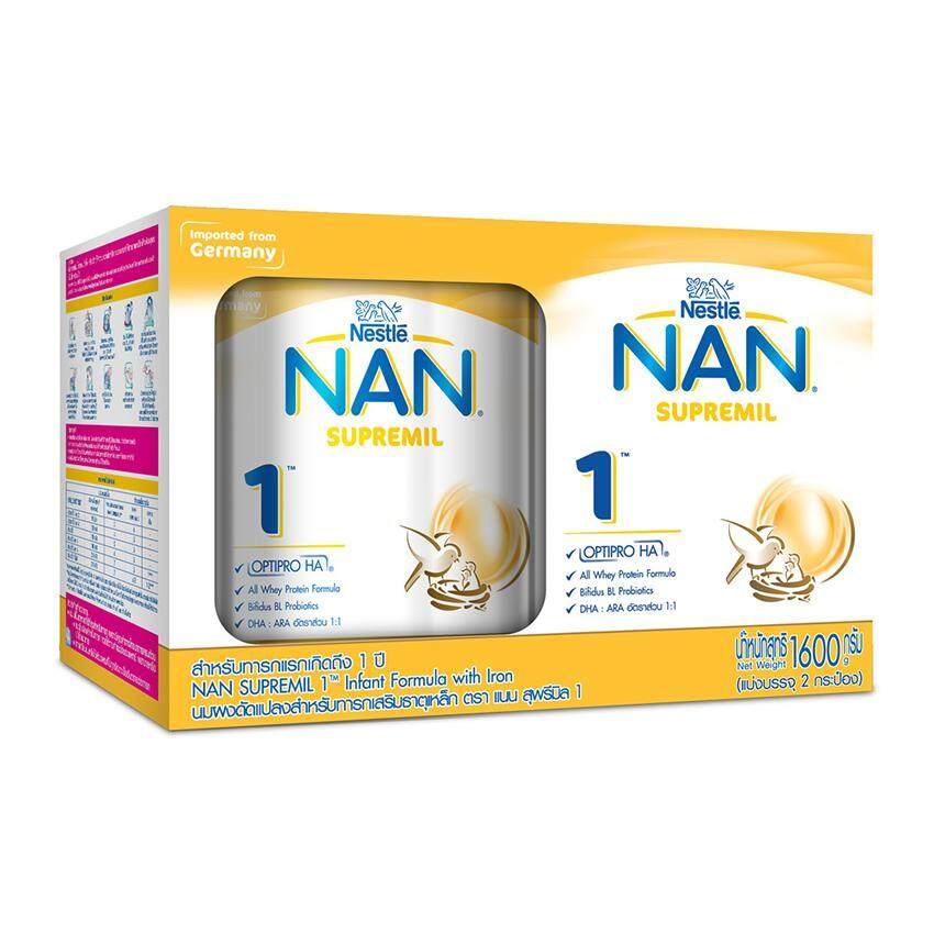 แนะนำ NAN แนน สุพรีมิล 1 นมผงสำหรับทารก ช่วงวัยที่ 1 สูตรเสริมธาตุเหล็ก 1600 กรัม