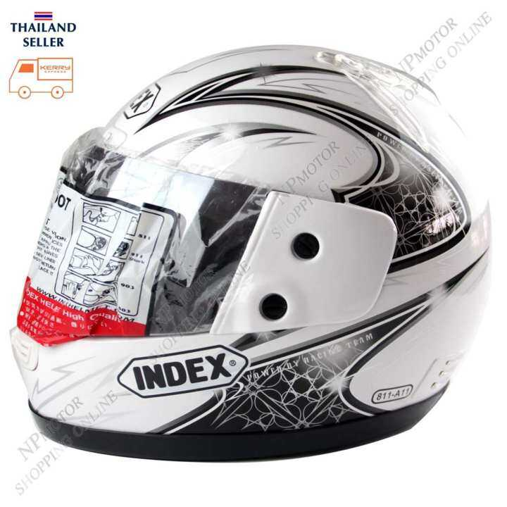 INDEX หมวกันน๊อค 811-11 หน้ากากปรอท สีขาวลาย size-L