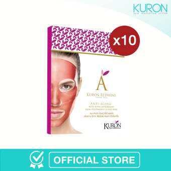 ซื้อที่ไหน [สวยทั้งเดือน สวยยกแพ็ก][แพ็ก 10] - Kuron แผ่นมาส์กหน้า สูตร Red Wine Crystal Mask KU0011