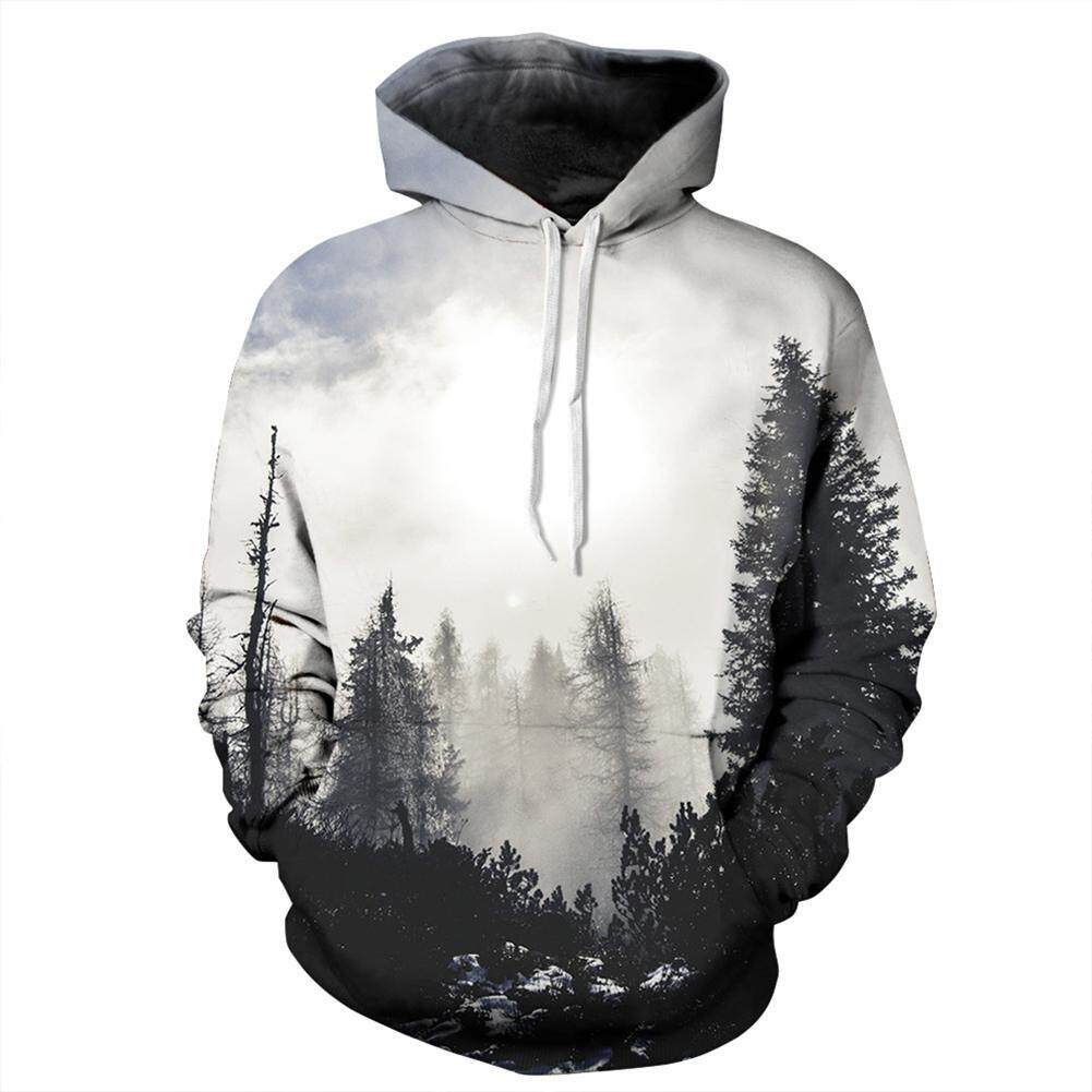 Men/Women 3D Print Black and White Forest Hoodie Fashionable Hooded Pullover Top