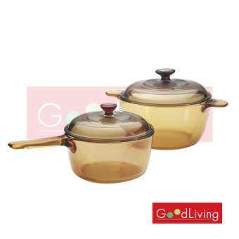 Visions หม้อแก้วทนไฟ 4pc Saucepan/Cookpot Set(VSP-1.5+VS-2.5)VS-312/CL สีชา