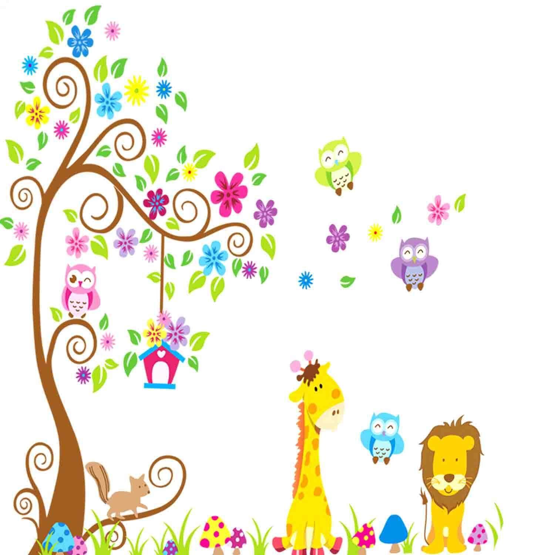 Cartoon Giraffe Lion Owl Tree Pattern Children Kids Nursery Room Home Decor DIY PVC Wall Stickers Wallpaper