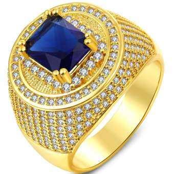 AAA แฟชั่นผู้ชายยอดนิยม 18 พันทองชุบหมั้น shinng แหวน 268 ชิ้นขนาดเล็กหินเพทายสีขาวรอบขนาด 8-15-นานา-