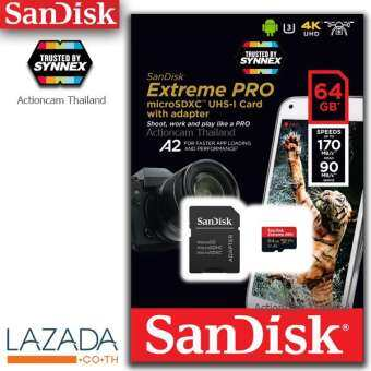 SanDisk Extreme PRO microSDXC UHS-I V30 A2 170MB/s 64GB  Up to 170/90MB/s read/write speed / life time (SDSQXCY-064G-GN6MA)