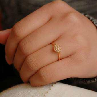 เปลี่ยนโชคแหวนหญิงสาธารณรัฐเกาหลีแฟชั่นสไตล์เกาหลีฮิปสเตอร์แหวนสัมฤทธิ์ชุบ 18 K โรสโกลด์กำไลข้อมือมงคลประดับเต็มไปด้วยเจาะ