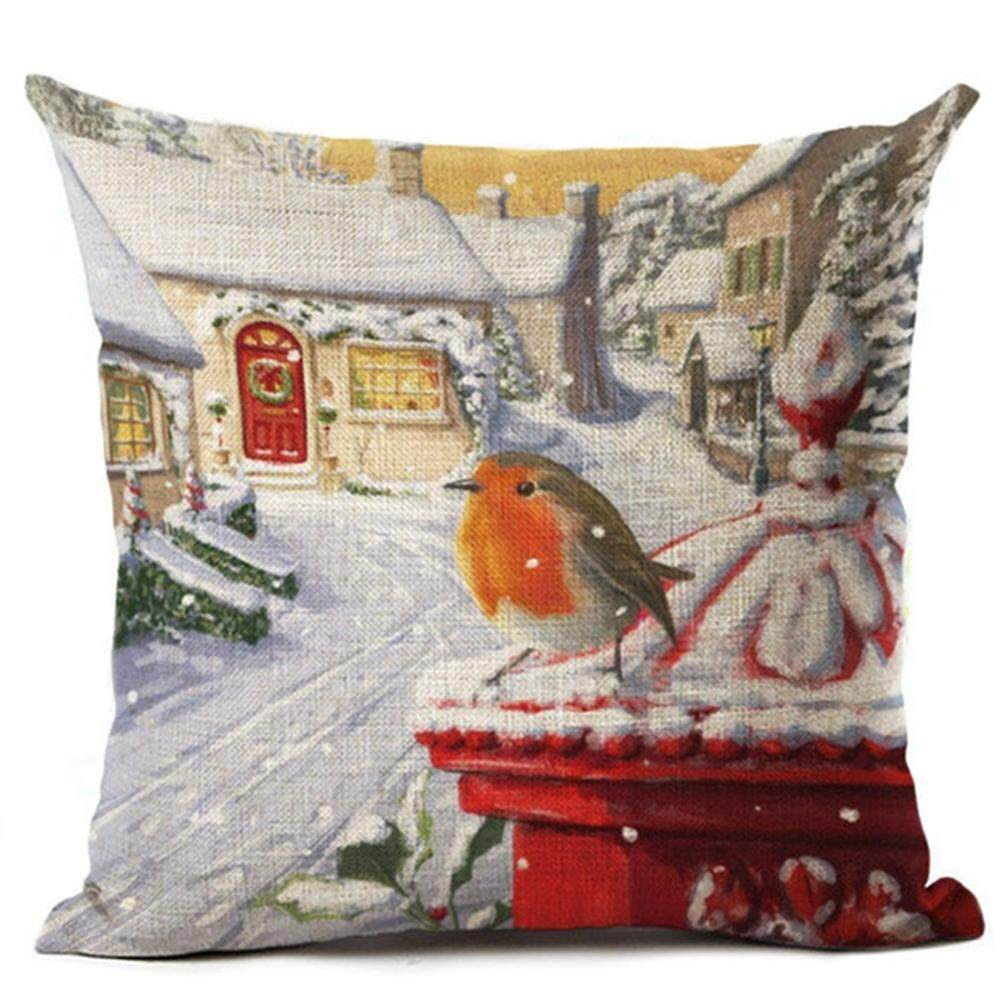 Christmas Pillow Case Snow Series Cushion Cover Flower Seat Cover Home Sofa Decor 1PCS 45*45CM Without Pillow