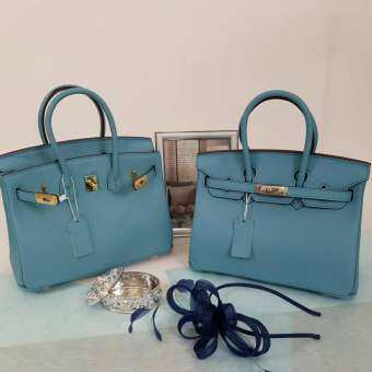 กระเป๋า  BK Bag in Blue Paon Togo Leather 25cm