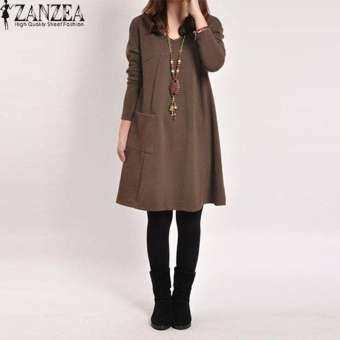 ZANZEA ฤดูใบไม้ร่วงผู้หญิงหลวมหญิงแขนยาววี - คอ Vestidos Femininas ขนาดชุด 5 สี (กาแฟ) - นานาชาติ-