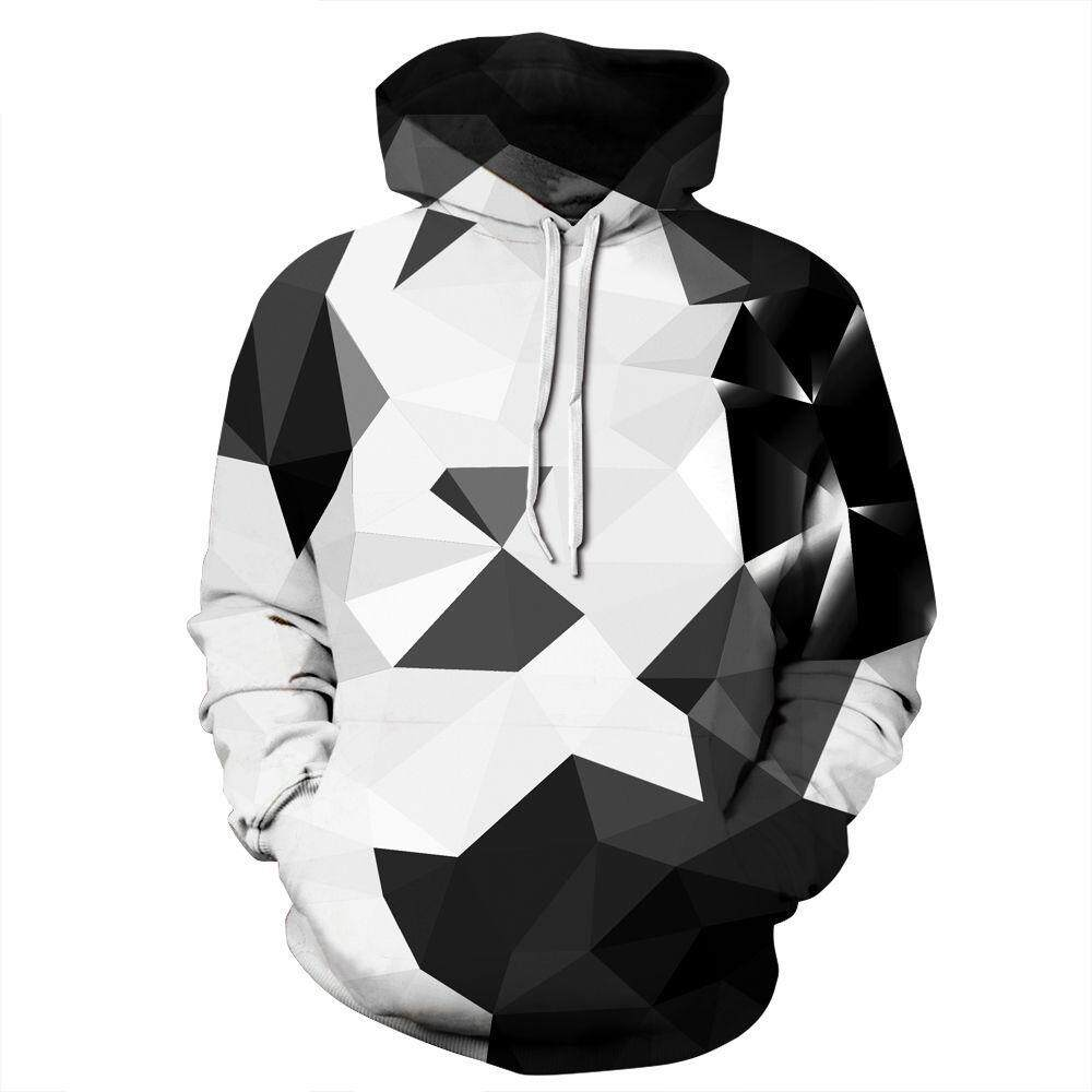 f92cc7587 Black and White Geometry Men and Women Hoodies Digital Printing Hooded  Pullover Tide Brand Plus Size