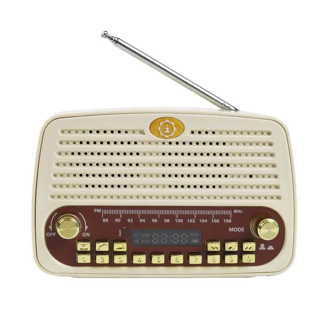 ข้อมูล เครื่องเล่นเพลงแบบพกพา AS TVDirect  เครื่องเล่นพกพาวิทยุธรรมะ รุ่น วิทยุเสียงธรรม SR5 สีขาว แถม AS นาฬิกา ลูกทุ่งเรือนทอง และ เบาะนั่งสมาธิ ดีจริง ๆ