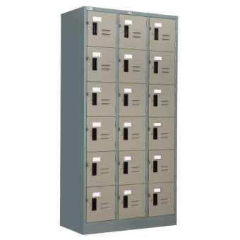 ADHOME ตู้ล็อคเกอร์เหล็ก 18 ช่อง ขนาด 90 ซม. รุ่น 18-LK (สีเทาสลับ)-