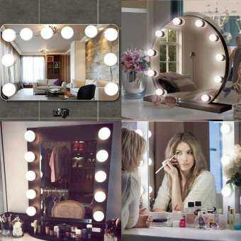 SeaLavender Hollywood LED โต๊ะเครื่องแป้งเครื่องสำอางหลอดไฟกระจกชุด 10 หลอดไฟที่หรี่แสงได้ 7000 พันสีขาวยืดหยุ่นไฟ LED สำหรับ Touch แต่งหน้าโต๊ะเครื่องแป้งชุดใน Dressing Room (ไม่รวมกระจกเงา) US/EU/UK Plug-