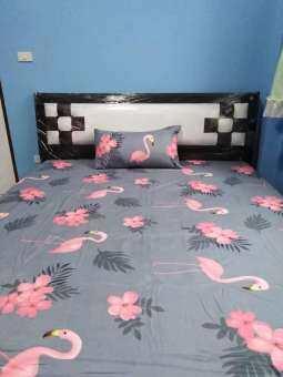 autty-0054 ชุดผ้าปูที่นอนสีพื้น 5 ฟุต 5 ชิ้น สีเทาเข้ม ลวดลายนกฟลามิงโก้สีชมพู-