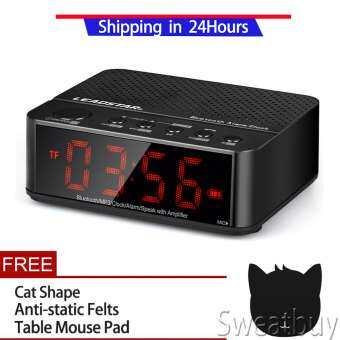 [ซื้อ 1 แถม 1 ฟรี] เพลงบลูทูธไร้สายลำโพง MP3 AUX นาฬิกาปลุกนาฬิกา FM วิทยุจอแสดงผลแอลอีดีสีดำ - INTL