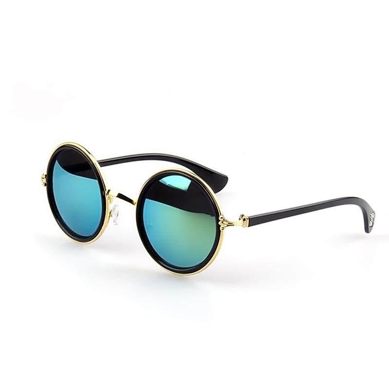 TIANYOU JD 1 Pair Unisex Retro Round Circle Mirror Lens Metal Frame Sunglasses Shades Sun Glasses for Men Women Gold Frame + Green Lens