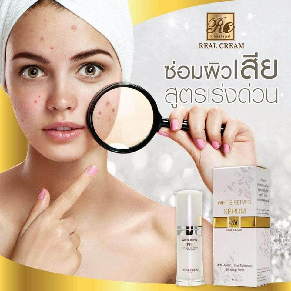 ครีมหน้าขาว-เรียวครีม รีเเพร์เซรั่ม (White Repair Serum) เซรั่มหน้าเงาช่วยทำให้ผิวหน้าขาวใส เงาวาว ดูมีออร่า หน้าเด้ง 20Ml.