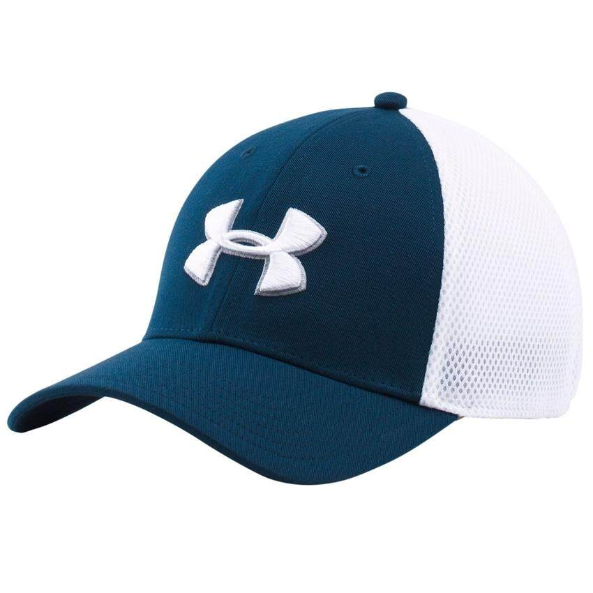 Under Armour หมวกแก็ป Under Armour Men's Mesh Stretch 2.0 Golf Hat 1273280-409 (Academy/White)