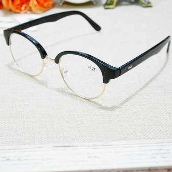 แว่นตาสายตายาว+100 ครึ่งกรอบเหล็กทรงกลม-