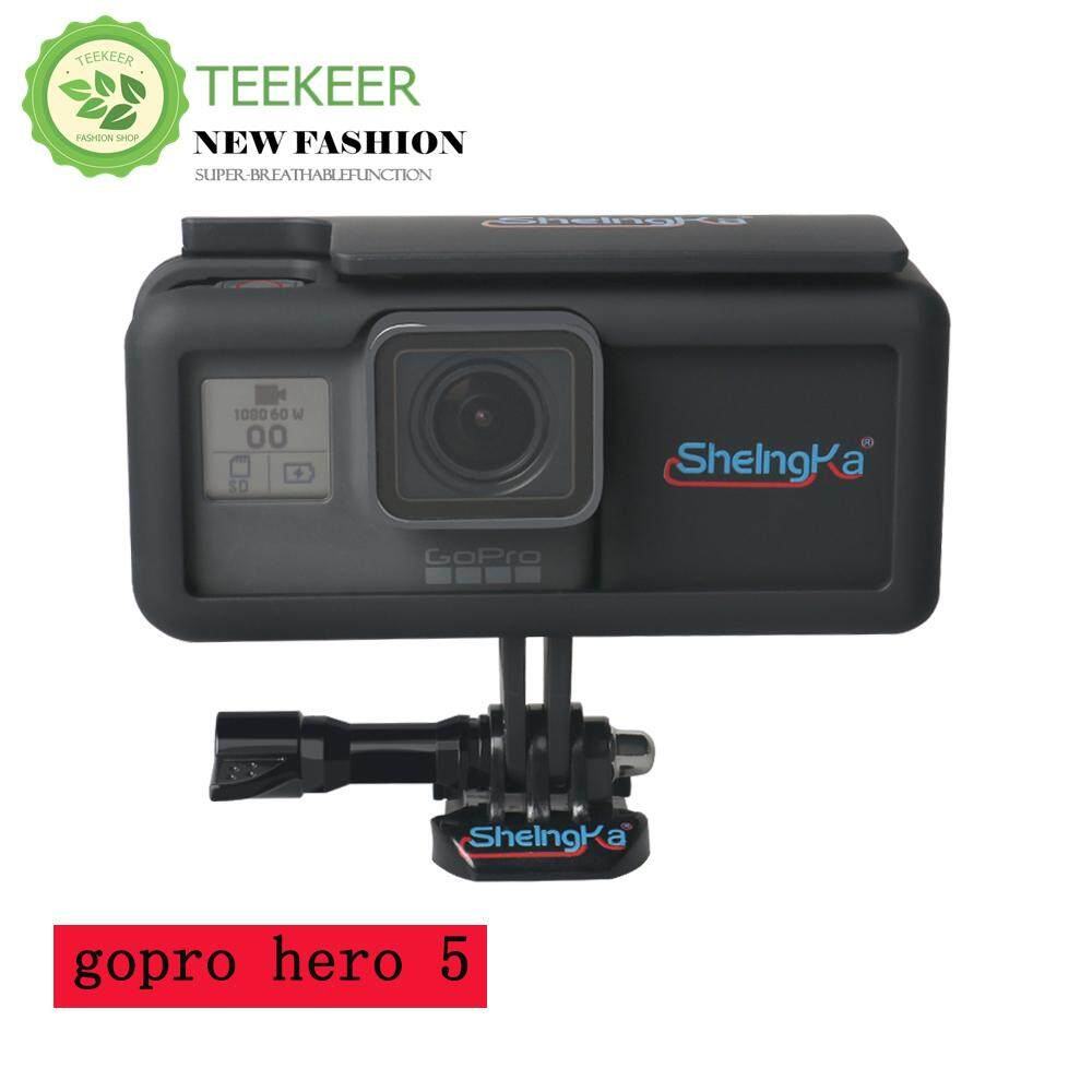Teekeer Protective Cover With Side Power, Replacement Housing Case With Extended Battery Side Power For GoPro Hero 5 Outside Sport Camera, Black