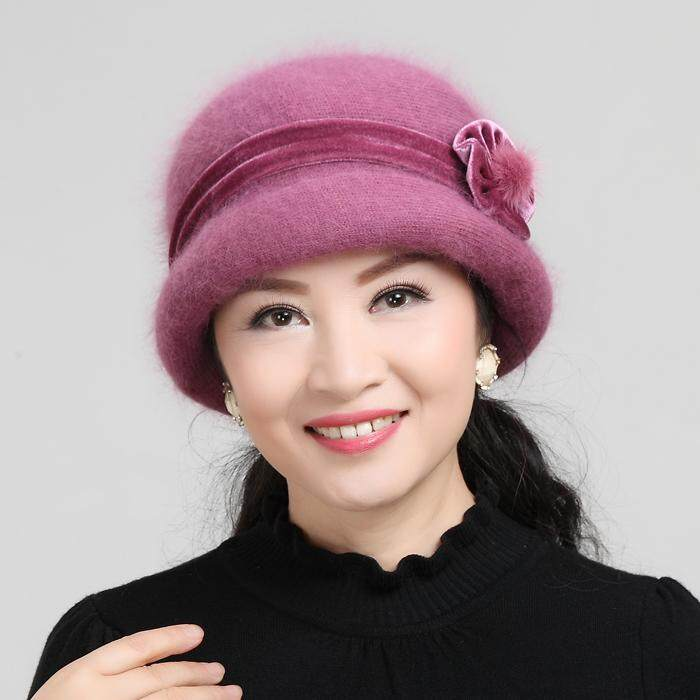 c3e9d04f8 Autumn And Winter Middle-aged Hat women Rabbit Fur Knitted Wool Cap Grandma  Old Man Hat Winter Middle-aged Mom Cap Scarf