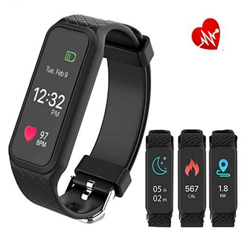 Nanotech New Arrive 2017 หน้าจอสี รุ่นล่าสุด Color Screen Heart Rate Monitor LED Display Watch Touch Screen Bluetooth IOS Android - สีดำ