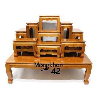 โต๊ะหมู่บูชาพระ (ไม้สักทอง) หมู่ 9 หน้า 5 สีย้อม-
