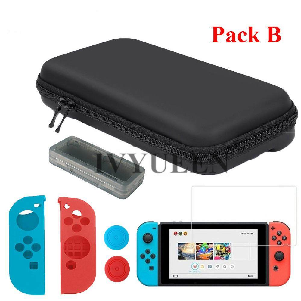 IVYUEEN 7 in 1 Storage Bag Cover for Nintend Switch NS Console Tempered Glass Screen Protector + Controller Silicone Case Skin - intl